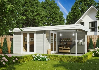 Attractive Garden room RANJA 44 with VERANDA | 6.8 x 4.1 m (22'4'' x 13'3'') 44 mm